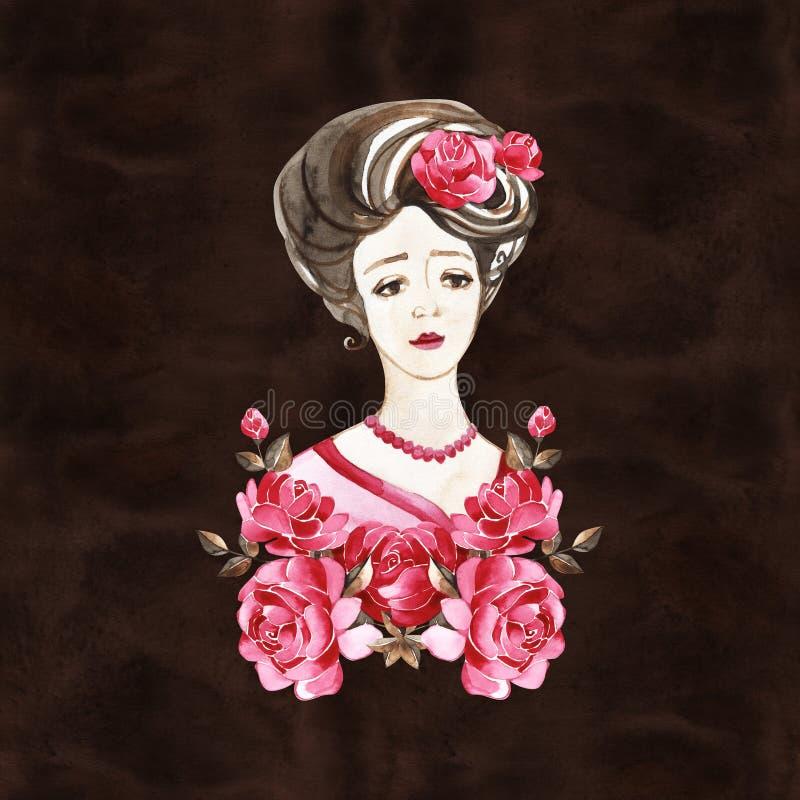 St?ende f?r vattenf?rghandm?larf?rg av unga kvinnor med rosor tappning f?r stil f?r illustrationlilja r?d 1900s royaltyfri illustrationer