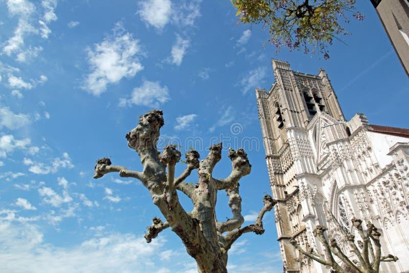 St Etienne Cathedral d'Auxerre (Auxerre, Bourgogne, Frances) images libres de droits