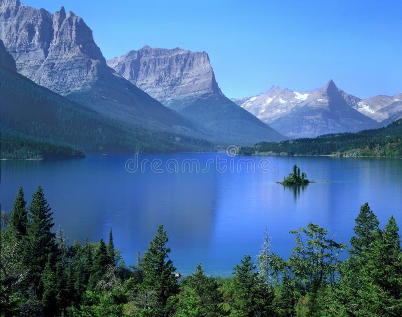 st för glaciärlakemary nationalpark royaltyfri foto