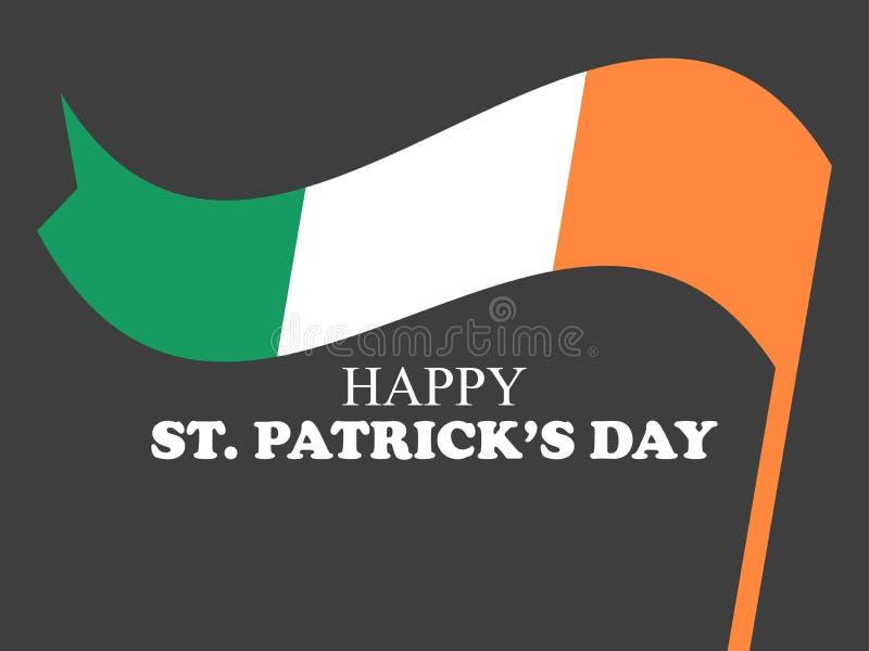 st för kantdagpattys Festligt baner med den irländska flaggan på svart bakgrund vektor royaltyfri illustrationer