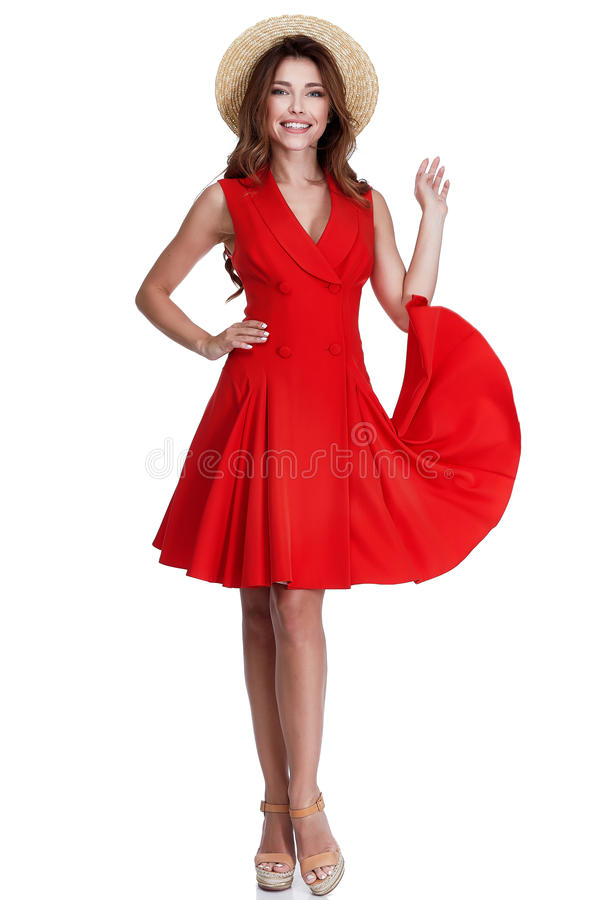 St för klänning för bomull för härliga sexiga för brunetthår för kvinna långa kläder röd arkivbilder