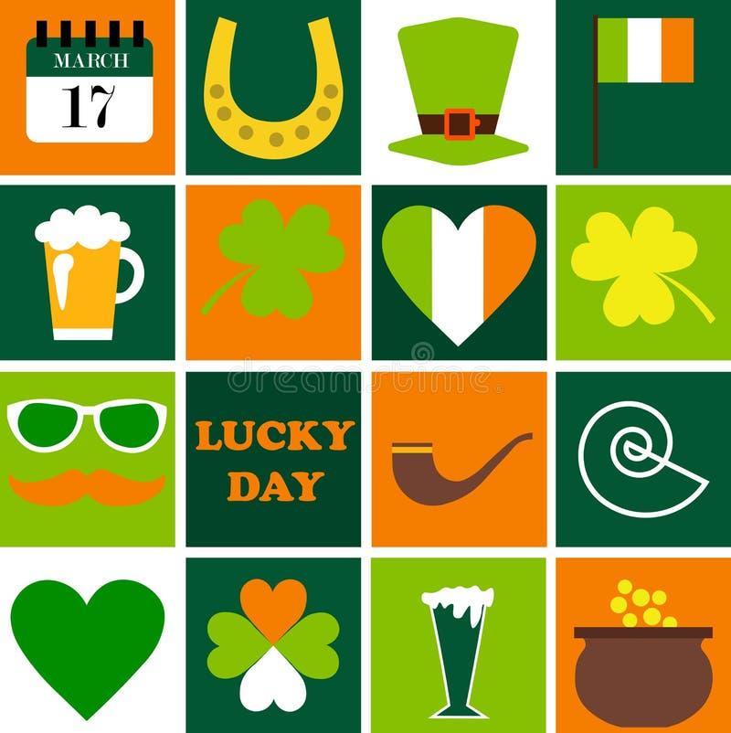 St felice Patrick Day Insieme delle icone di feste illustrazione vettoriale
