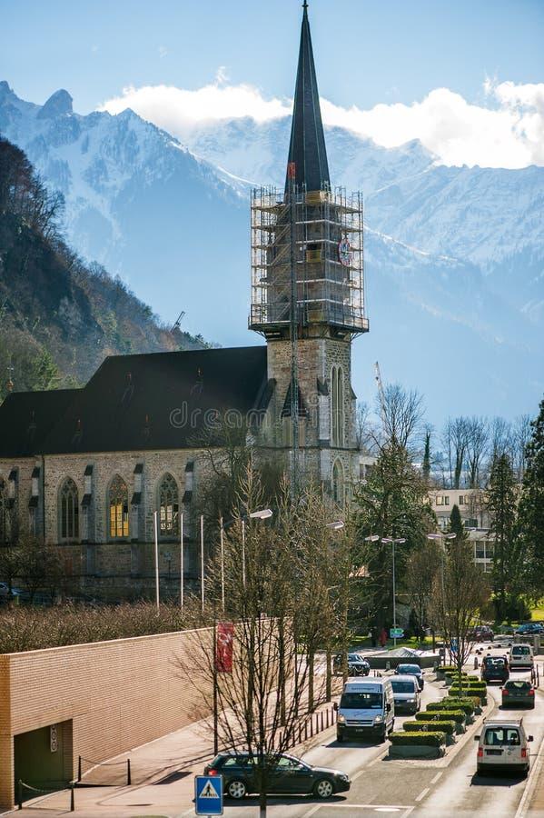 St florenów Farny kościół w Vaduz zdjęcie royalty free