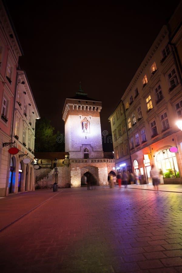 St. Florian's Street (Florianska Street) gates. In Krakow, Poland royalty free stock photo
