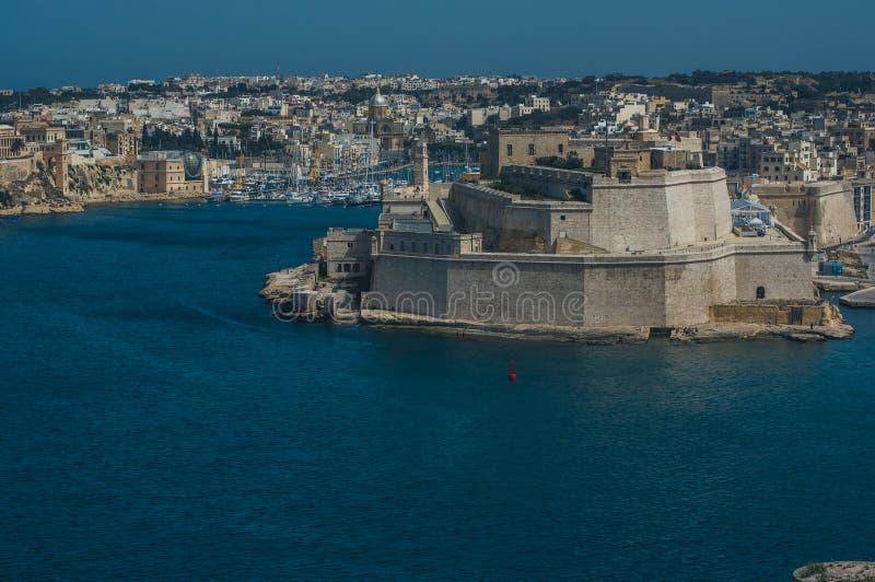 St forte Angelo, IL-Birgu, vista da La Valletta, Malta fotografie stock libere da diritti