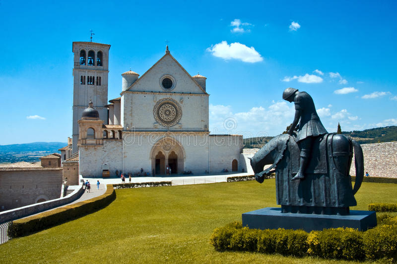 St. Francis Basilica in Assisi stock afbeelding