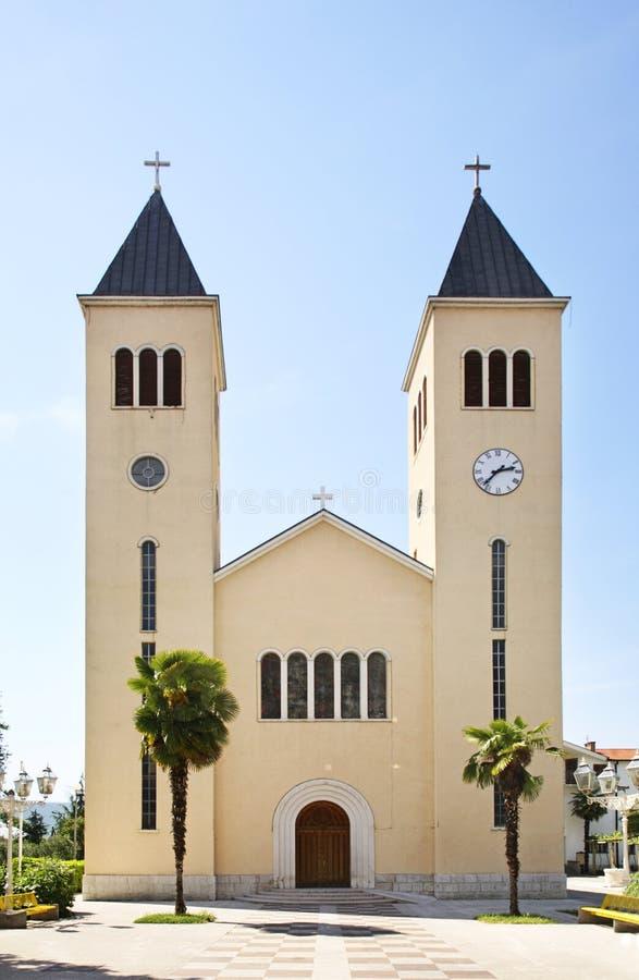 St Francis Church i Caplina stämma överens områdesområden som Bosnien gemet färgade greyed herzegovina inkluderar viktigt, planer royaltyfria foton
