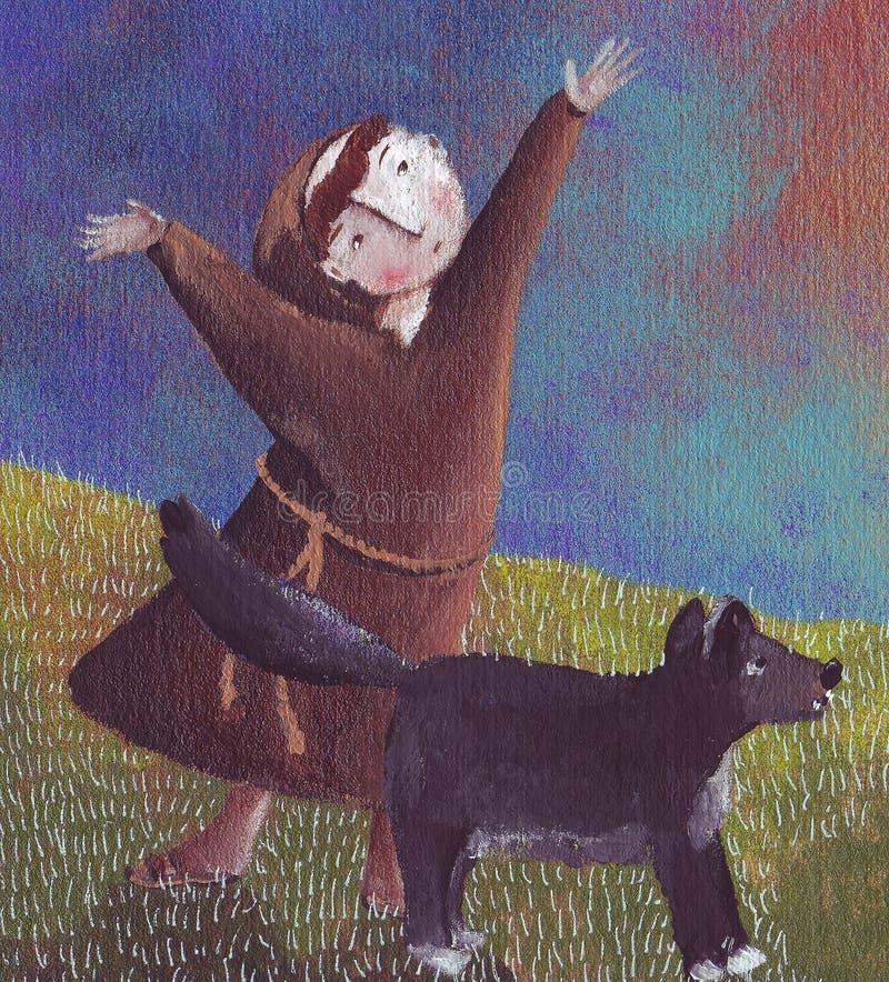 St Francis ed il lupo royalty illustrazione gratis
