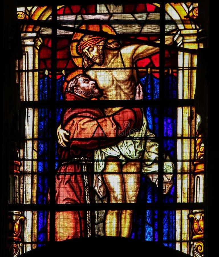 St Francis - vitral imagem de stock royalty free