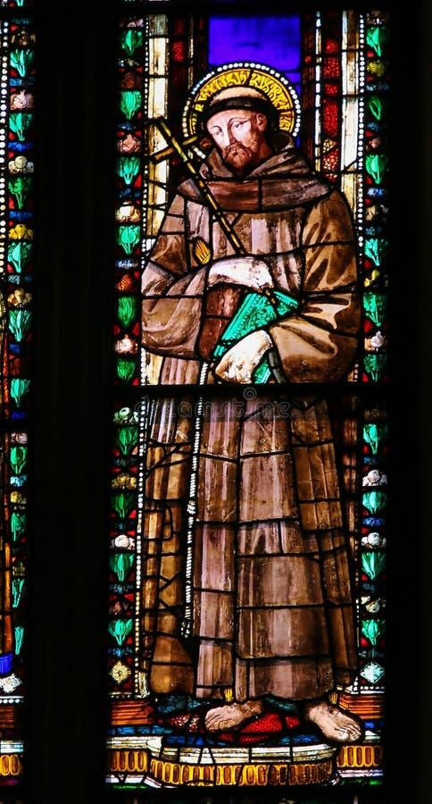 St Francis - vitral em Florence Santa Croce imagens de stock