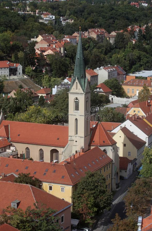 St Francis von Assisi-Kirche in Zagreb lizenzfreies stockfoto
