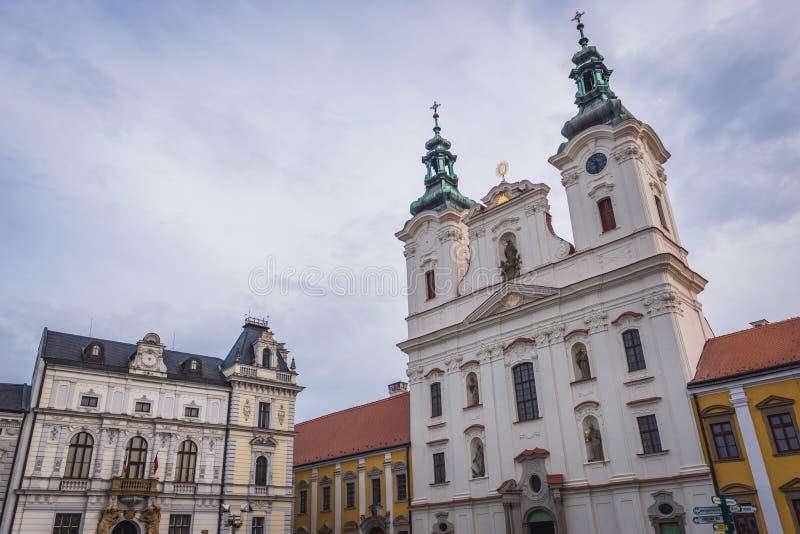 Uherske Hradiste in Czech Republic. St Francis Xavier church and City Hall in Uherske Hradiste, small city in Czech Republic royalty free stock photo