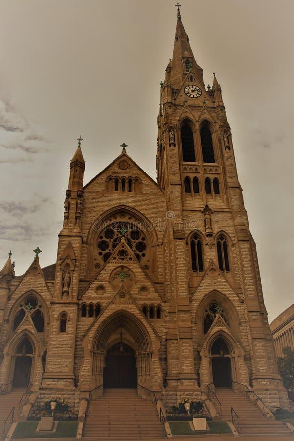 St Francis Xavier College Church in Sepia, St Louis Missouri royalty-vrije stock foto's