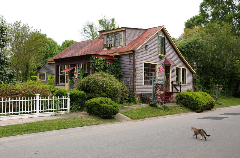 st francisville,路易斯安那,美国- 2009年:典型的镇窗框的一个房子