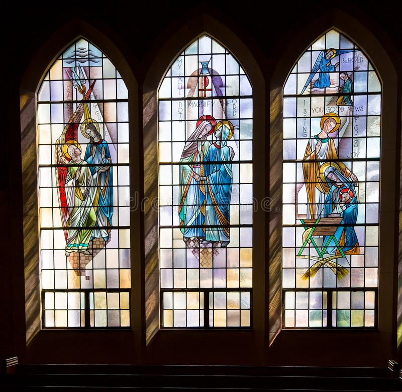 St. Gabriel Archangel Church Windows Trio royalty free stock photo