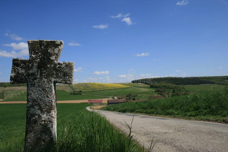 St Geneviève十字架在Bionval,诺曼底 免版税库存照片
