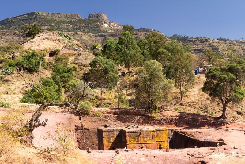 St George Church in Lalibela in Ethiopië stock afbeeldingen