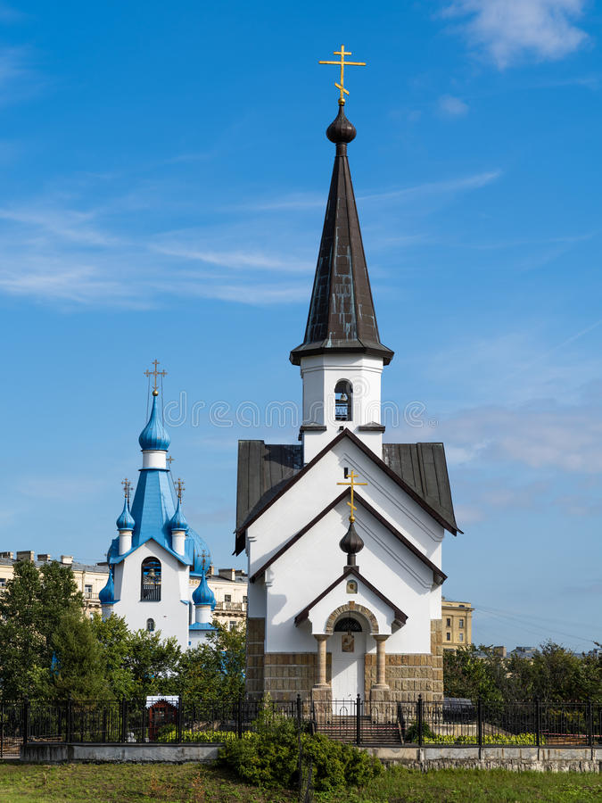 St George Church nell'ambiente di St Petersburg nel summerPetersburg fotografie stock