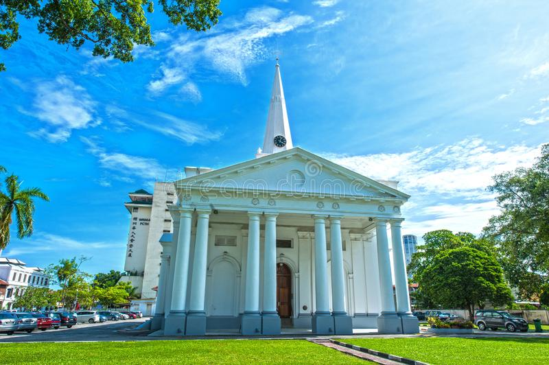 ST GEORGE CHURCH - PENANG. St. George`s Chruch is set next door to the Penang State Museum & Art Gallery. Built in 1817 by the East India Company using convict royalty free stock image