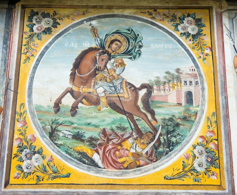 St George in de fresko's van het klooster Bachkovski stock foto's