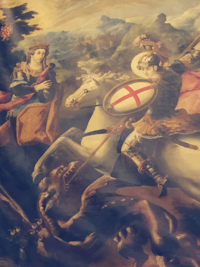St George die de draak door Francesco Potenzano in St John' veroveren; s de Kathedraal van Co, Malta royalty-vrije stock foto's