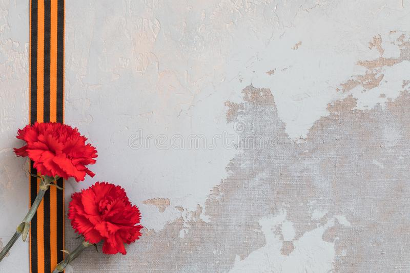 St George faborek i czerwień goździk, możemy 9 zwycięstw dnia pojęcie, symbol Drugi wojna światowa obraz stock