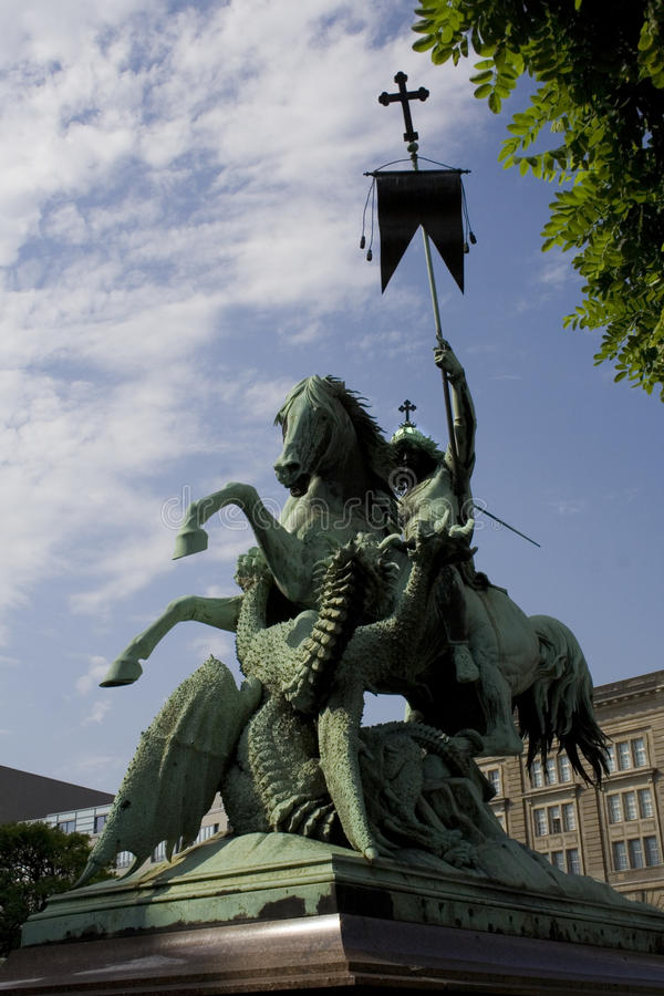 St George Fighting The Dragon Statue Royalty Free Stock Photos