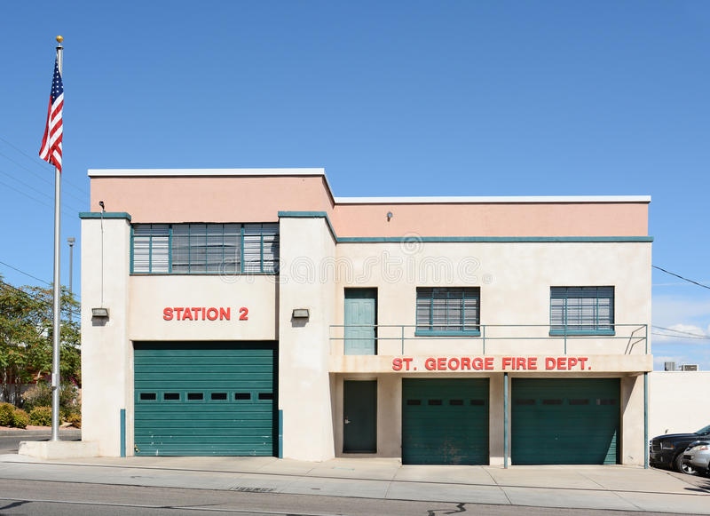 St George Fire Station. ST. GEORGE, UTAH - AUGUST 15, 2015: The St. George Fire Department Station 2. Station 2 is the oldest fire station in St. George royalty free stock photo
