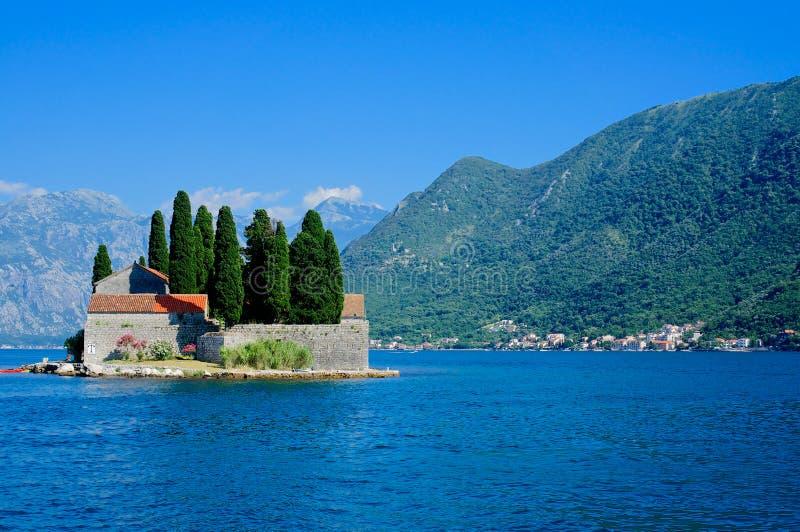 St George Insel, Bucht von Kotor, UNESCO-Welterbestätte stockfotografie