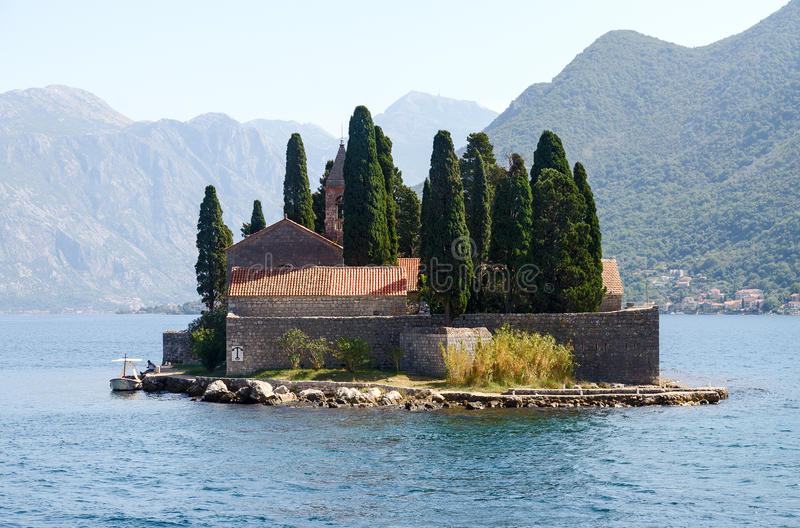 St. George Island (Island of the Dead), Bay of Kotor, Montenegro stock photos