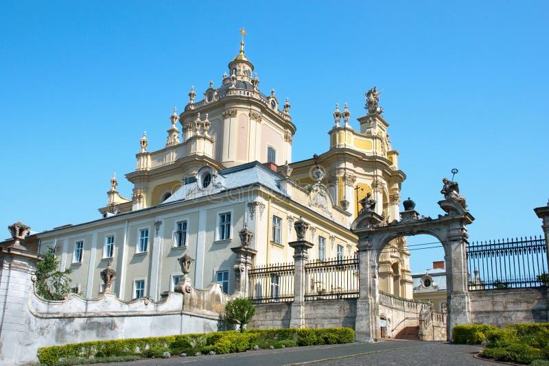 St. George kerk in Lvov de Oekraïne royalty-vrije stock foto