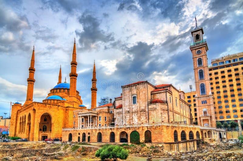 St George Maronite Cathedral e Mohammad Al-Amin Mosque a Beirut, Libano immagine stock
