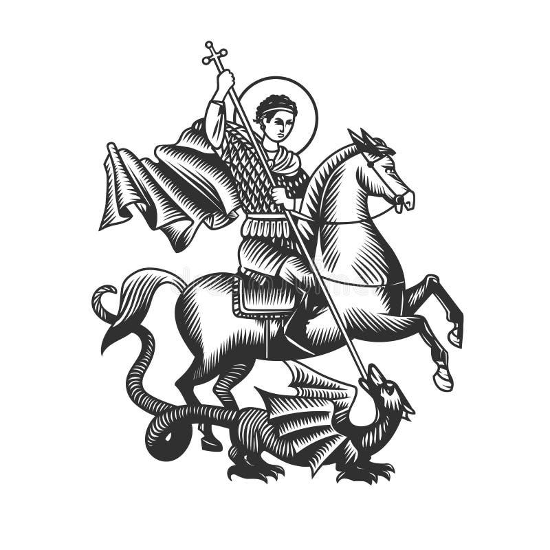 St George Objets noirs et blancs de vecteur illustration libre de droits