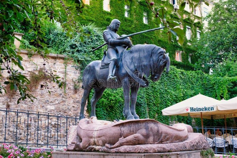 St George och Dragon Statue, Zagreb, Kroatien royaltyfri bild