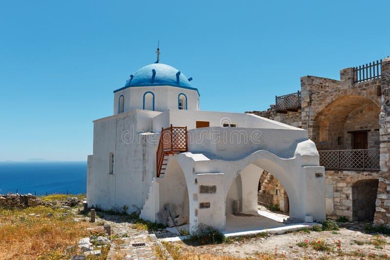 St. George op het kasteel van Querini op het eiland Astyalea stock foto's