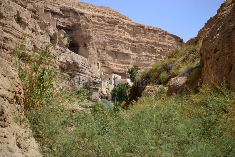 St George Orthodox Monastery, Wadi Qelt, deserto de Judean, perto de Jericho, Israel Prat de Nahal, Mitzpe Yeriho fotos de stock royalty free