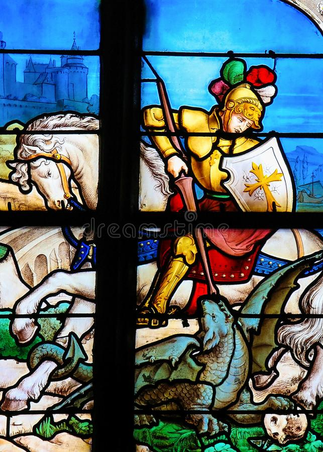 St George que massacra o dragão fotos de stock