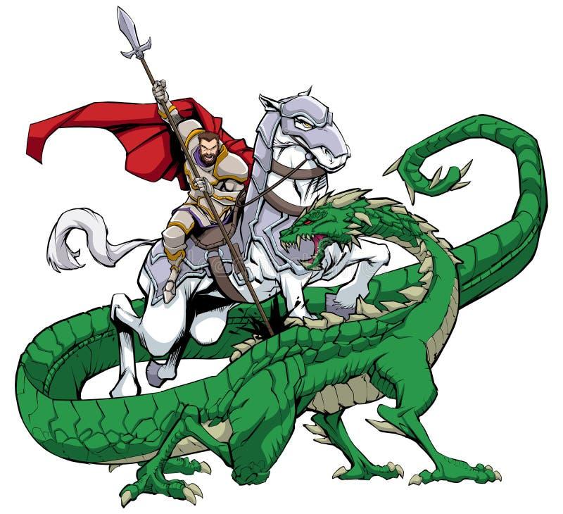 St George que massacra o dragão ilustração royalty free
