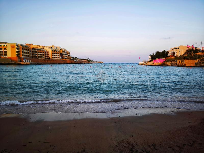 St George`s Bay at St Julians Malta royalty free stock photography