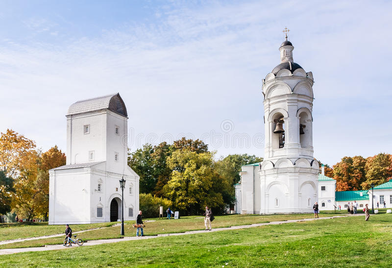 St. George's bell tower and Water inlet tower Kolomenskoye Park. Moscow royalty free stock photography