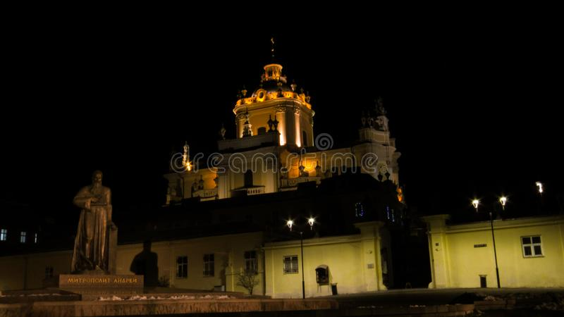 St. George`s Cathedral in Lviv. Christmas holiday. Lviv. Ukraine. 02.01.2020 stock photo