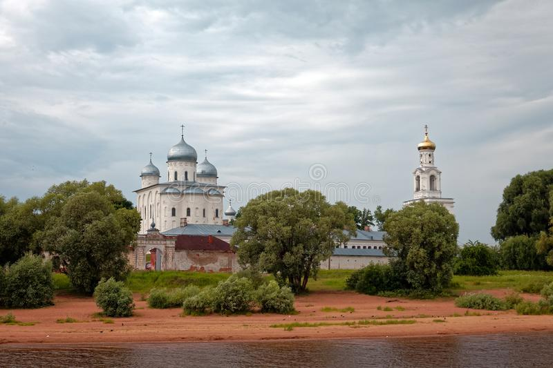 St. Georges Cathedral St. Georges Monastery near Novgorod. Ancient orthodox church. St. George`s Cathedral St. George`s Monastery near Novgorod. Ancient orthodox royalty free stock images
