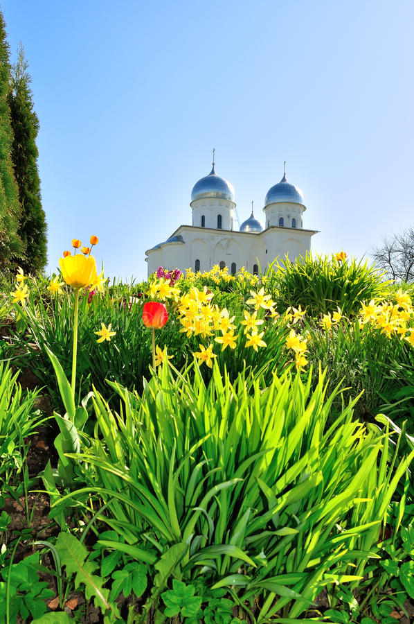 St. George's Cathedral. Russian orthodox Yuriev Monastery in Veliky Novgorod, Russia - spring architectural landscape with flowers (tulips and daffodils) on royalty free stock photo