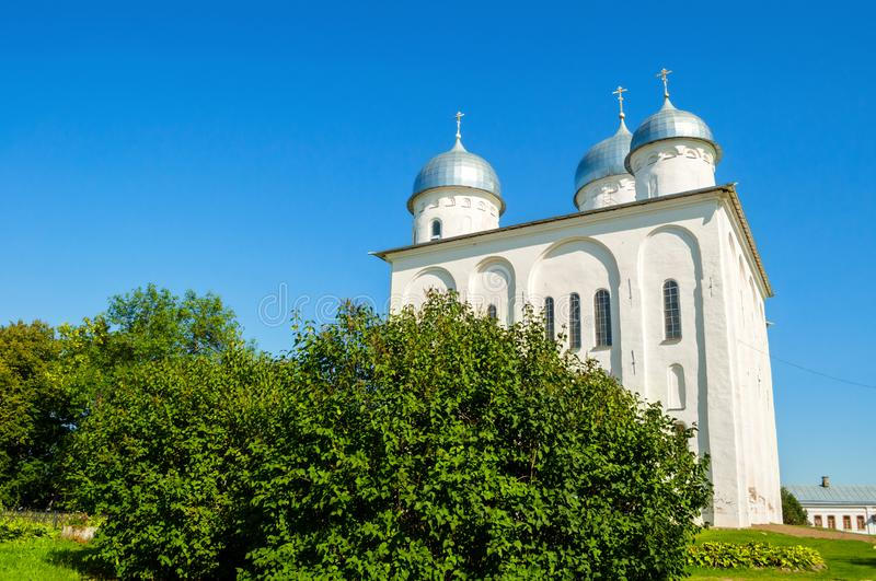 St. George`s Cathedral, Russian orthodox Yuriev Monastery in Veliky Novgorod, Russia royalty free stock image