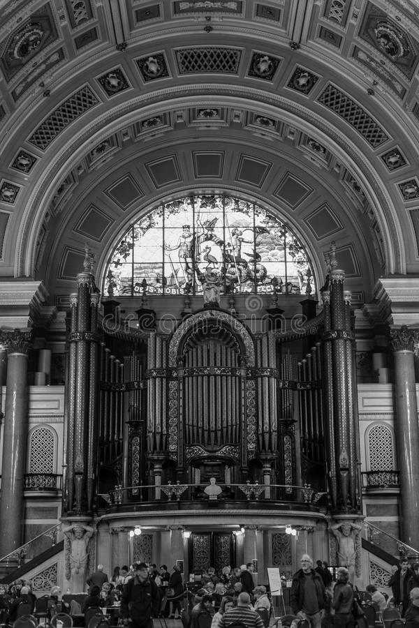 St George's Hall inside - organs. ENGLAND, LIVERPOOL - 15 NOV 2015: St George's Hall inside - organs stock images
