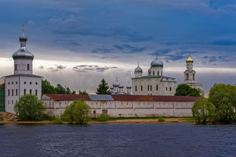The St. George's (Yuriev) Orthodox Male Monastery on the banks o stock image