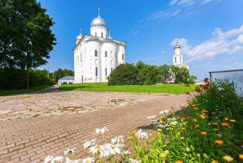 St. George`s Yuriev Orthodox Male Monastery in Veliky Novgorod royalty free stock images
