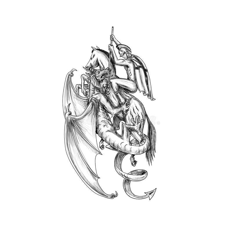 st george slaying dragon tattoo stock illustration illustration of warrior creature 101012586. Black Bedroom Furniture Sets. Home Design Ideas