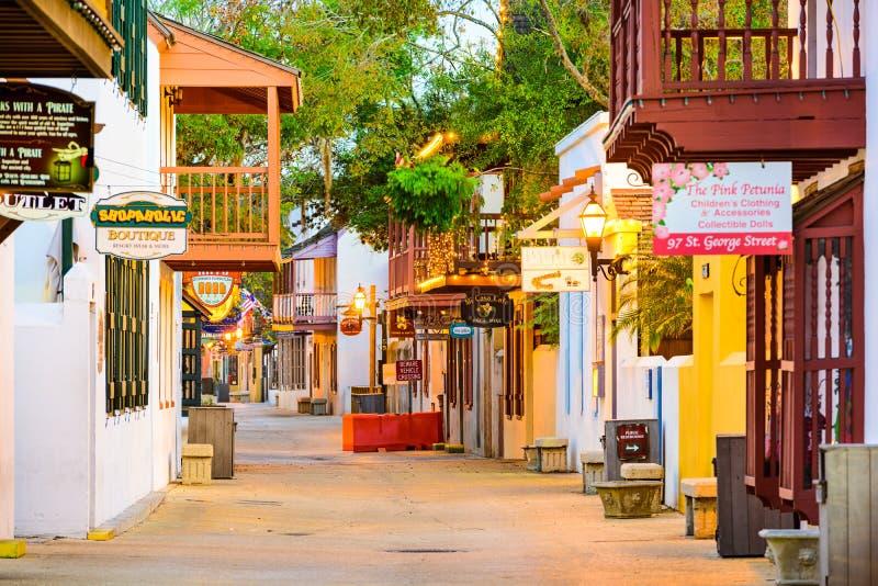 St George Street i St Augustine Florida arkivfoton