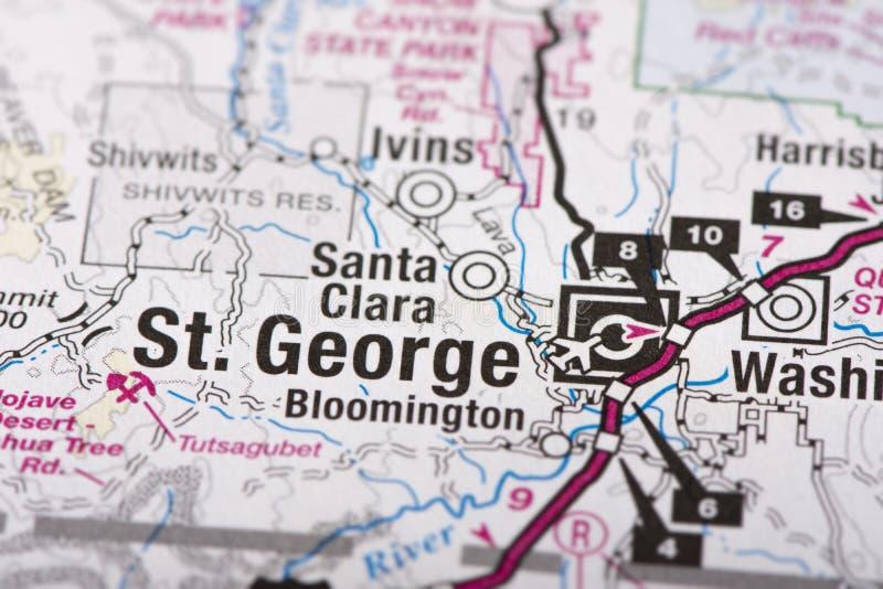 St George, Utah sulla mappa fotografia stock libera da diritti